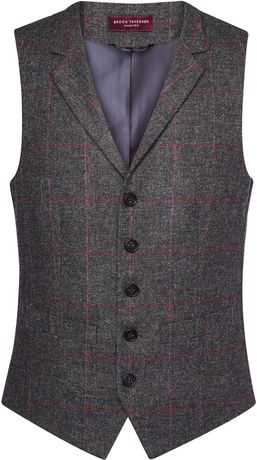 Gilet tweed sans manches - BT1463 - gris charcoal veston serveur homme