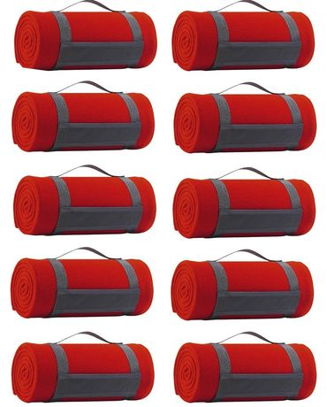 Lot 10 plaids couvertures polaires - rouge - 150x120 cm
