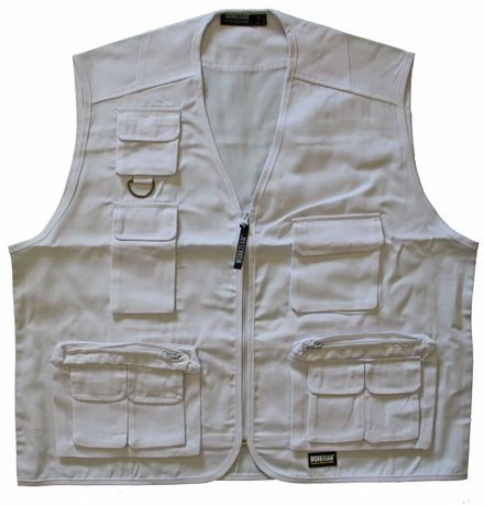 Gilet court  multipoches sans manches - S3100 - blanc