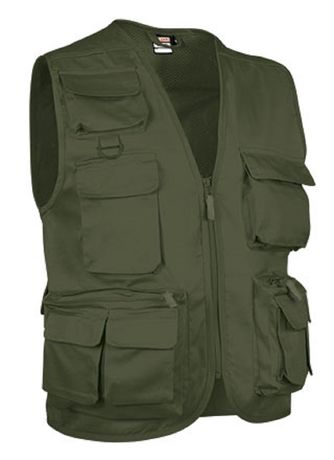 Gilet reporter multipoches sans manches - SAFARI vert olive militaire