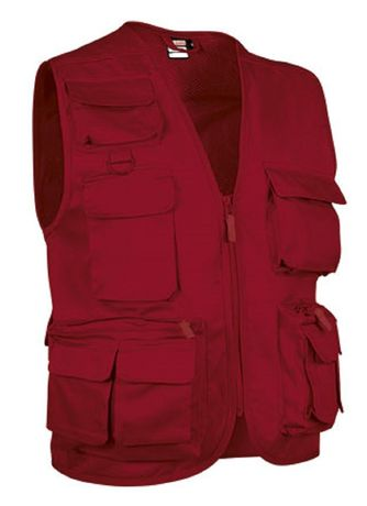 Gilet reporter multipoches sans manches - SAFARI rouge lotus