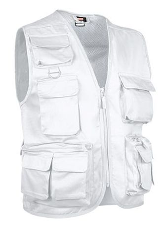 Gilet reporter multipoches sans manches - SAFARI blanc