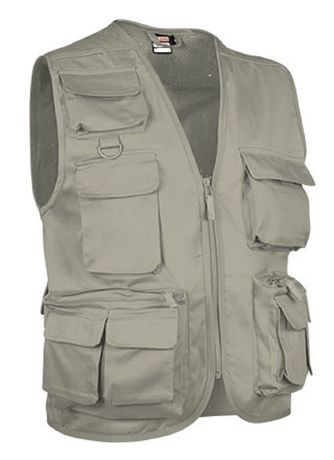 Gilet reporter multipoches sans manches - SAFARI beige