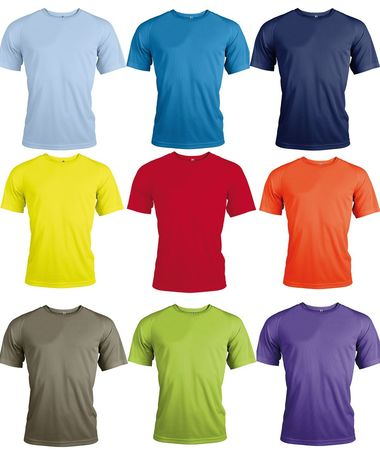 Lot 9 maillots sports - running -  manches courtes - Homme - multicolores