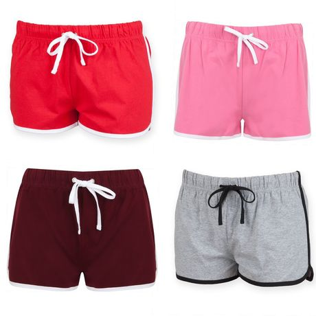 lot 4 shorts rétro femme - SK069 - rose rouge bordeau et gris