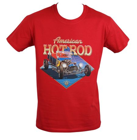 T-shirt homme manches courtes - Voiture American Hot Rod - 21291 - Rouge