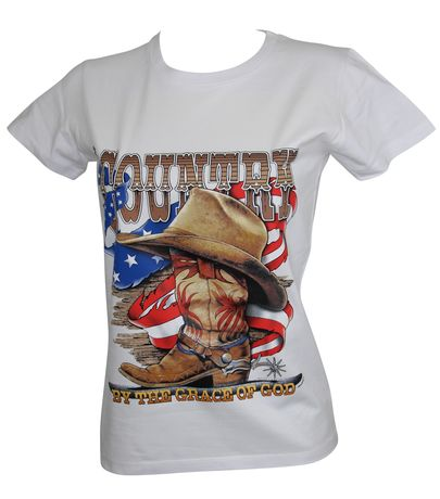 T-shirt femme manches courtes - Country Music - 12029- blanc