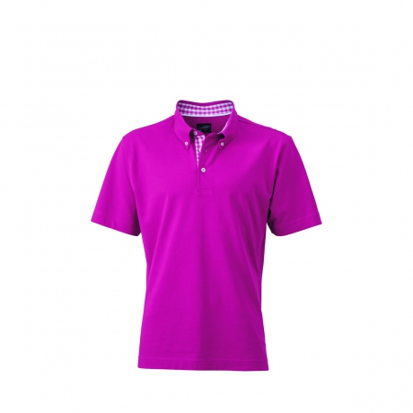 Polo inserts vichy HOMME JN964 - violet pourpre col pourpre-blanc