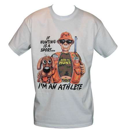 T-shirt homme manches courtes - Humour Chasseur - I'm an athlete - Chasse / hunting - 5058 - blanc