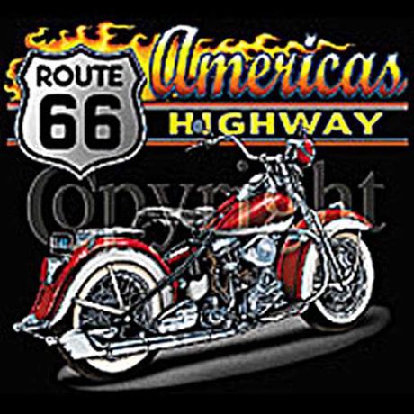 T-shirt homme manches courtes - Moto route 66 USA Biker - Americas highway - 3946