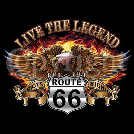 T-shirt FEMME manches courtes - Aigle route 66 USA Biker Live the legend - 6722