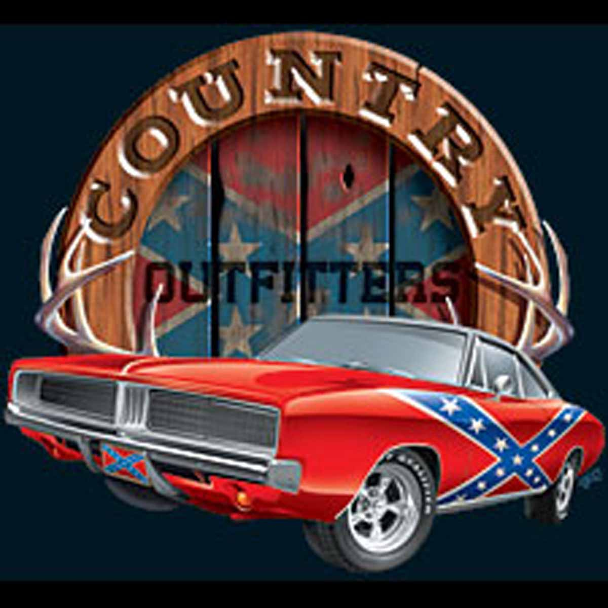 T-shirt homme manches courtes - COUNTRY OUTFITTERS - 11977 -  drapeau sudiste voiture américaine - USA