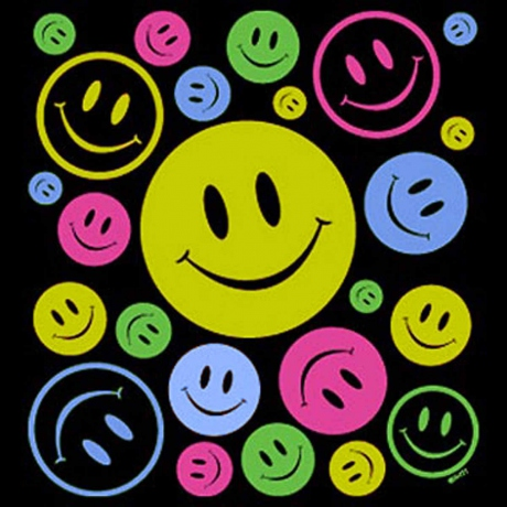 T-shirt FEMME manches courtes - Smiley néon fluo happy faces - 5392