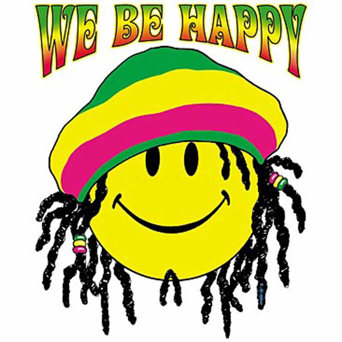 T-shirt femme manches courtes - Smiley néon fluo rasta We be happy - 12675