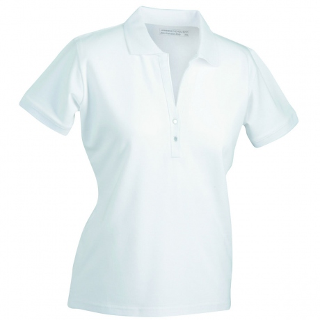 Polo femme manches courtes col V - JN158 - blanc