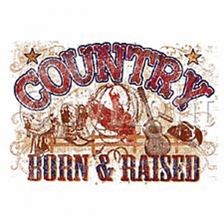 T-shirt HOMME manches courtes - Country - Born and Raised - 9176 - blanc