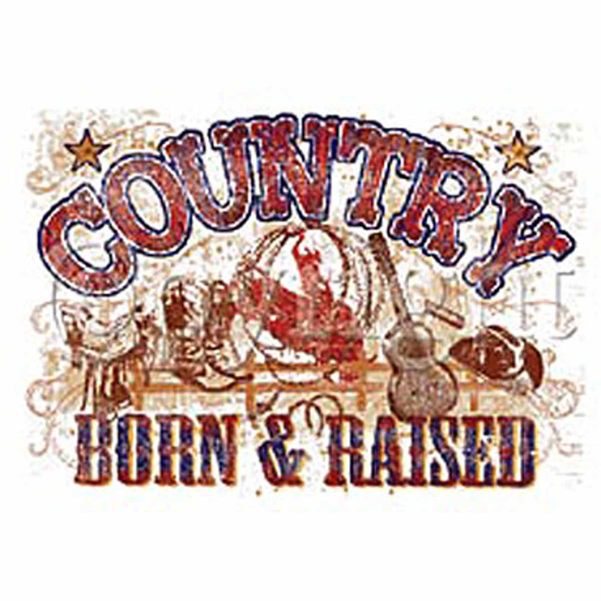 T-shirt FEMME manches courtes - Country - Born and Raised - 9176 - blanc