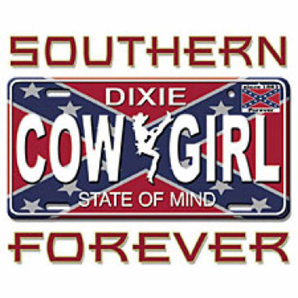 T-shirt FEMME manches courtes - Country cowgirl - Southern forever - drapeau sudiste - 13485 - blanc