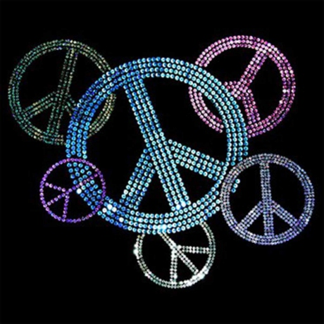 T-shirt femme manches courtes - Peace and love - sequins - 9826