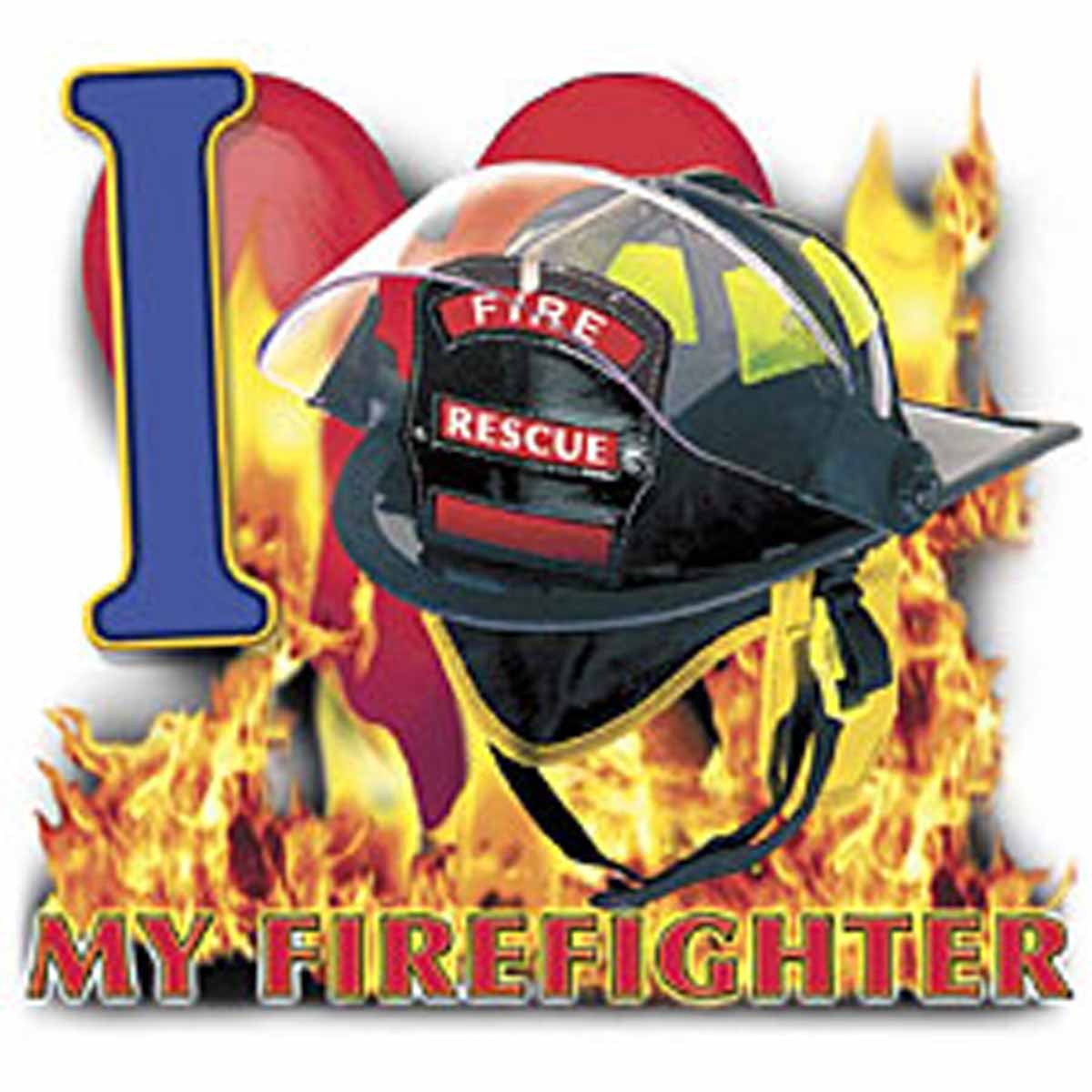 T-shirt HOMME manches courtes - I Love my firefighter - Sapeurs Pompiers - USA - 13497 - blanc