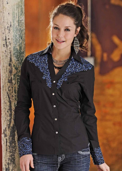 Chemise femme country - Perfect Paisley - noir - broderies strass - chemisier western - PANHANDLE