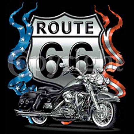 T-shirt HOMME manches courtes - Moto biker USA ROUTE 66 - impression recto-verso - 3521
