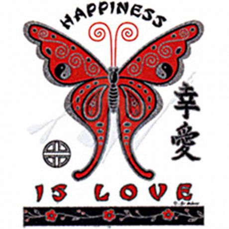 T-shirt femme manches courtes - Papillons Happiness is love - effet pailleté - Butterfly - 10394