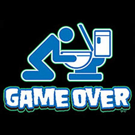 T-shirt HOMME manches courtes - GAME OVER alcool toilettes humour - 9043