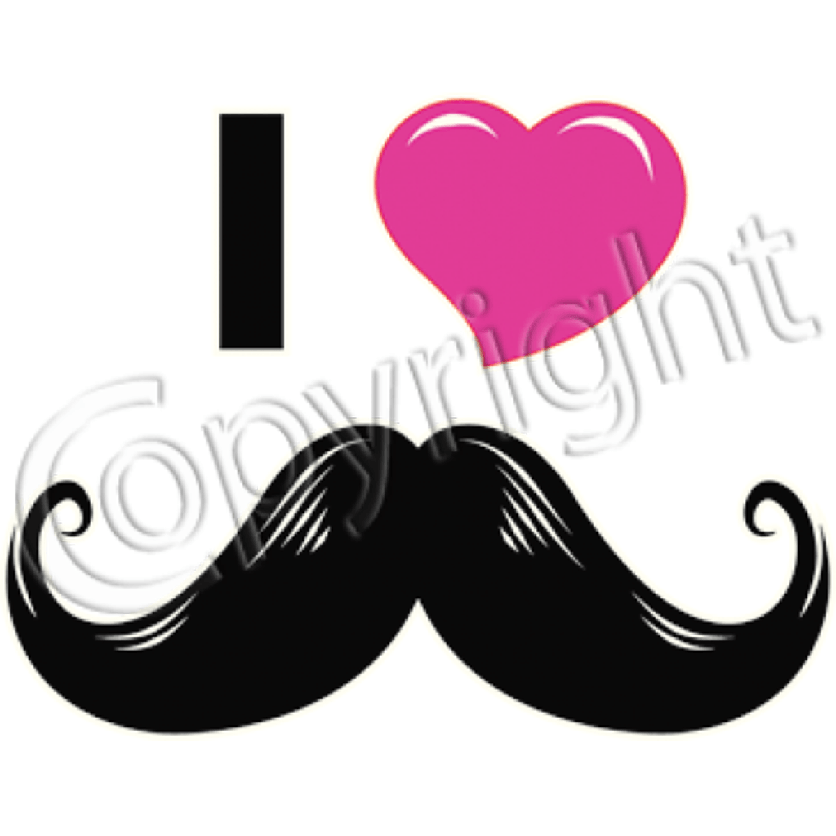 T-shirt homme manches courtes - I love moustaches - coeur rose - 11618