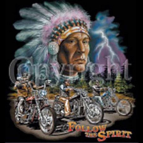 T-shirt HOMME manches courtes - Moto biker indien Follow the spirit - 6006