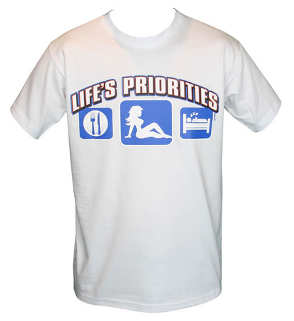 T-shirt homme manches courtes - LIFE'S PRIORITIES - humour macho sexy - 11034