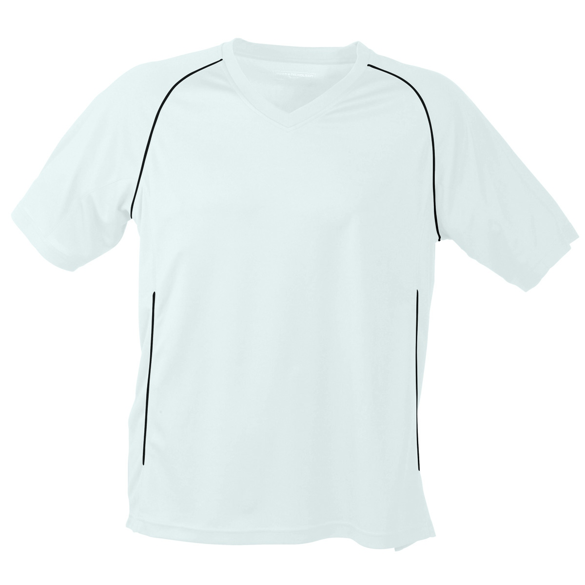 T-shirt polyester ADULTE col V Maillot Football JN386 - blanc