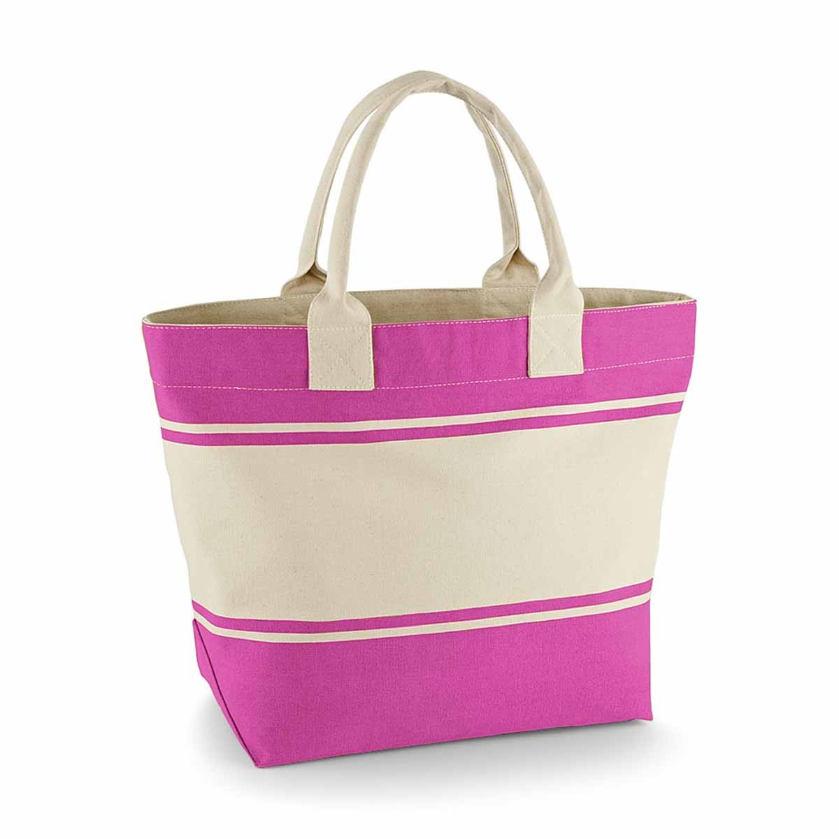 Sac cabas shopping ou plage en toile - QD26 - rose fuschia