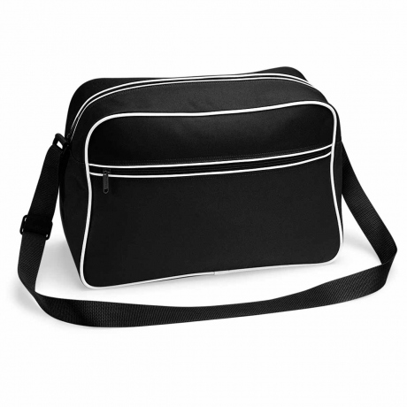 Sac bandoulière retro shoulder bag BG14 - noir tour blanc