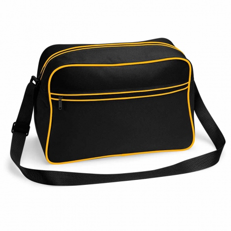 Sac bandoulière retro shoulder bag BG14 - noir tour jaune