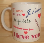 Mug blanc - I Love you - Je t'aime - Ti amo ...