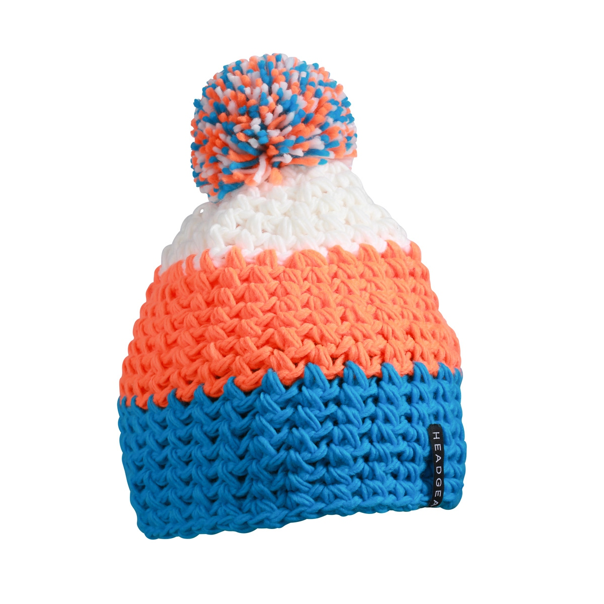 Bonnet crocheté à pompon - MB7940 - bleu - orange - blanc