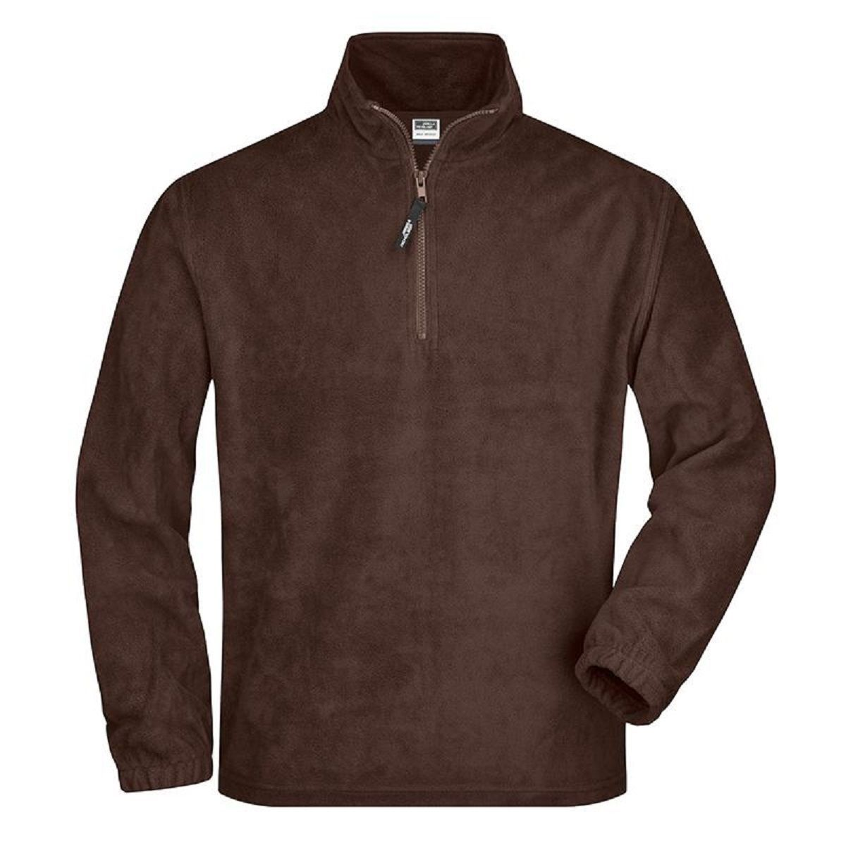 Sweat polaire col zippé homme - JN043 - marron