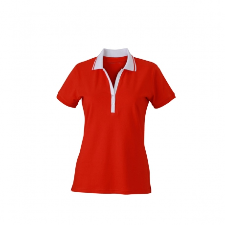 Polo femme manches courtes col V - JN158 - rouge tomate