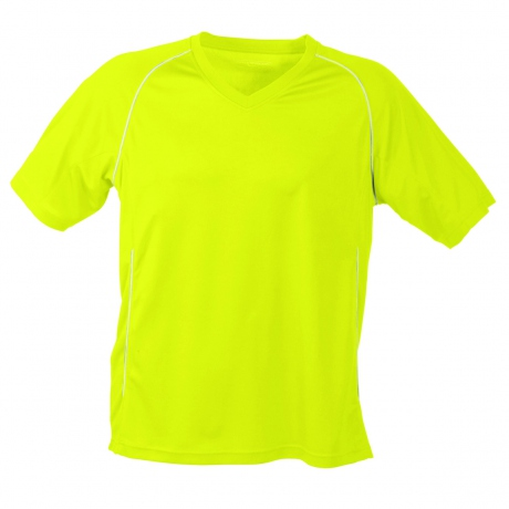 T-shirt polyester ADULTE col V Maillot Football JN386 - jaune