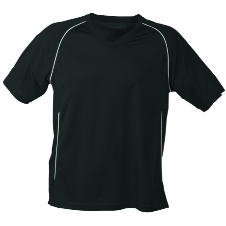 T-shirt polyester ADULTE col V Maillot Football JN386 - noir