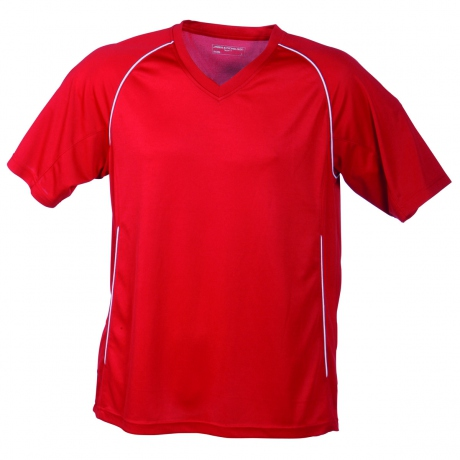 T-shirt polyester ENFANT col V Maillot Football - JN386K - rouge
