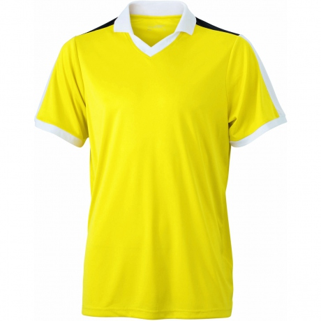 Maillot multisport ADULTE col V style polo JN467 - jaune
