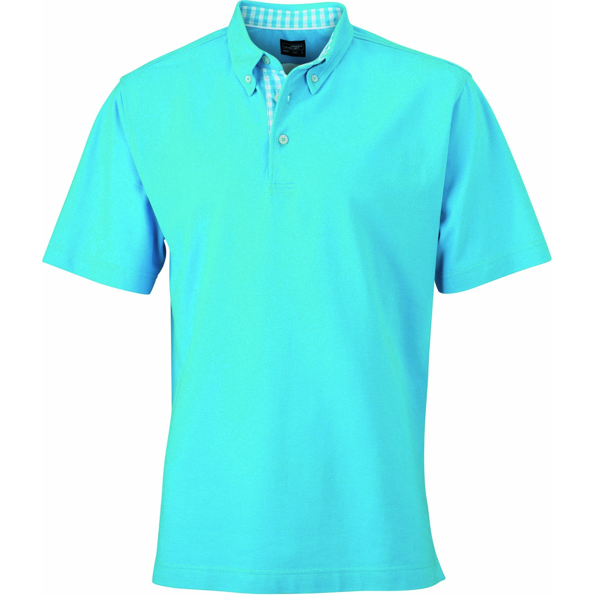 Polo inserts vichy HOMME JN964 - bleu turquoise col turquoise-blanc