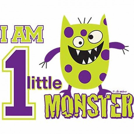 T-shirt enfant manches courtes petit monstre - 572 - blanc - I am 1 Little Monster