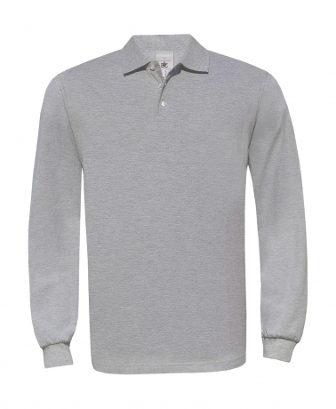 Polo homme manches longues - PU414 - gris heather