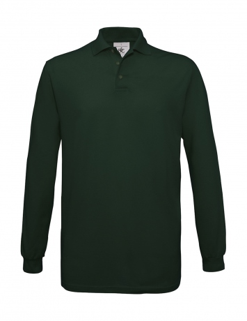 Polo homme manches longues - PU414 - vert bouteille
