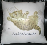 Coussin motif chat hamac - Do not disturb - 2415 - beige écru