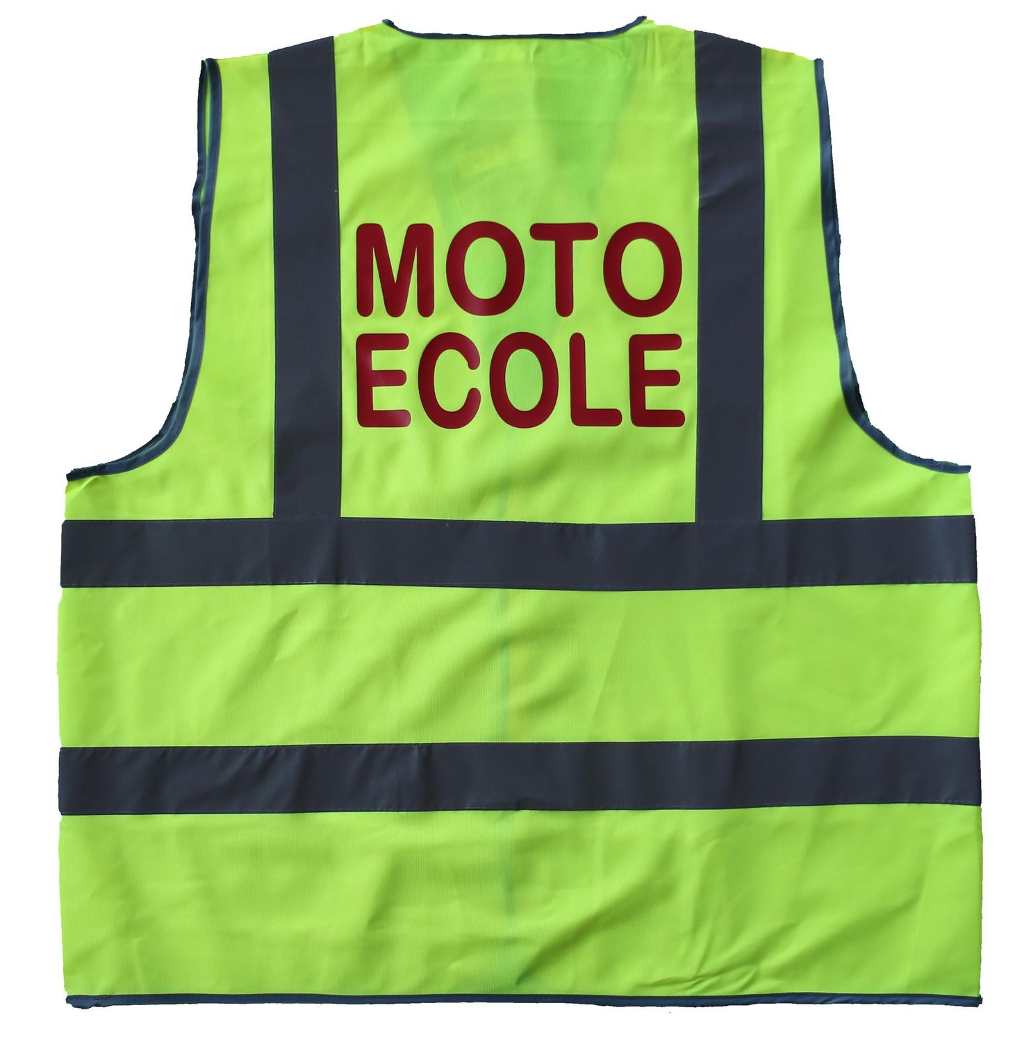 gilet de s curit jaune fluo marquage au dos moto ecole ebay. Black Bedroom Furniture Sets. Home Design Ideas