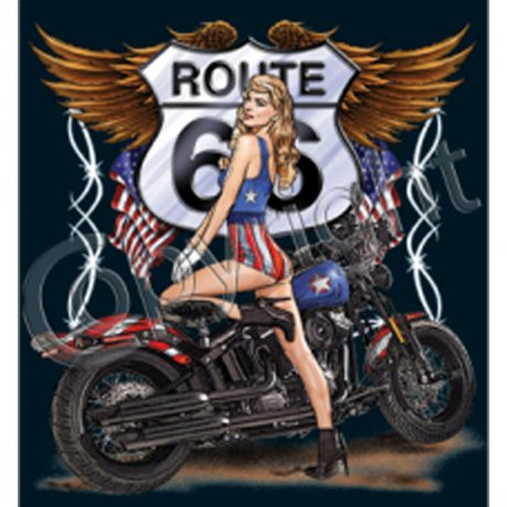 T-shirt FEMME manches courtes - Moto Route 66 Pin Up - 11001